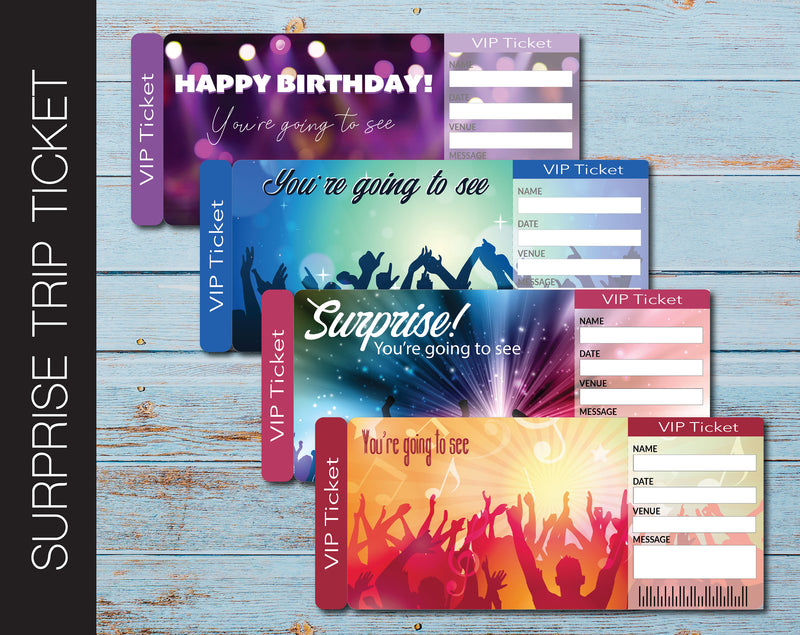 Printable Concert Surprise Trip Admission Card - Kaci Bella Designs