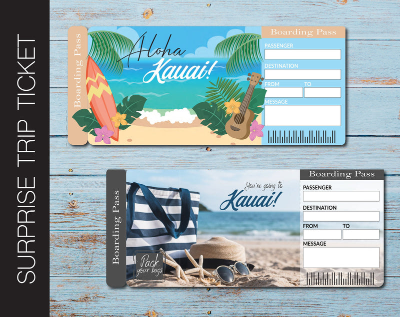 Printable Kauai Surprise Trip Gift Ticket - Kaci Bella Designs