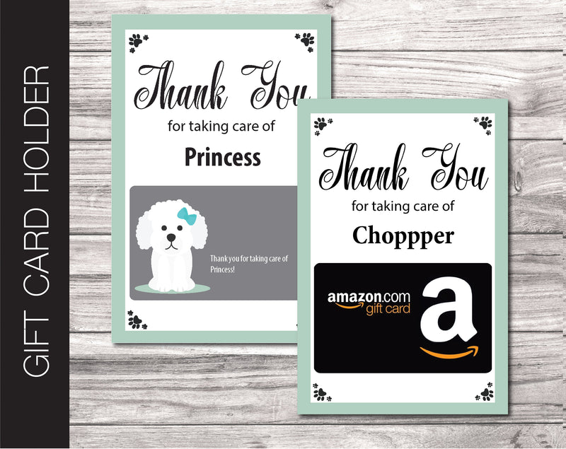 Printable Poodle Gift Card Holder - Kaci Bella Designs