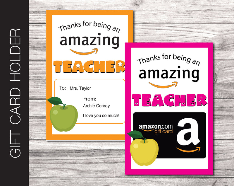 Printable Amazon Teacher Appreciation Gift Card Holder - Kaci Bella Designs