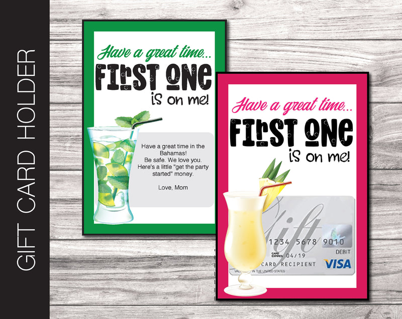 Printable Celebration Cocktail Gift Card Holder - Kaci Bella Designs