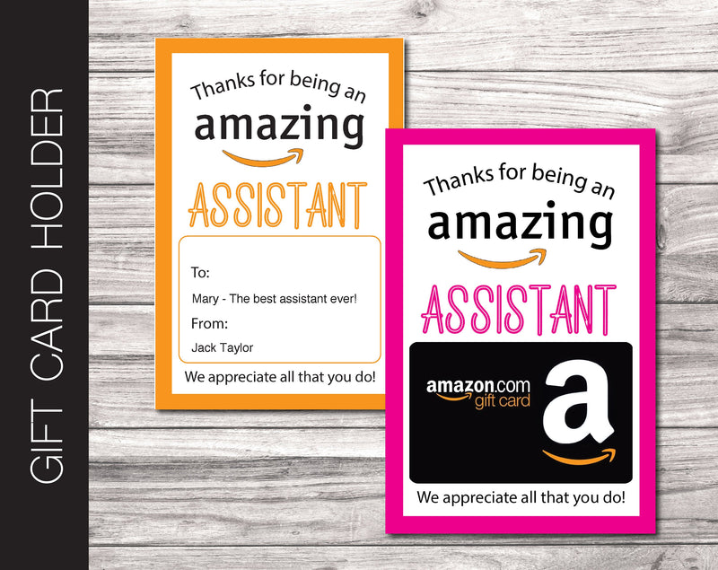 Printable Assistant Appreciation Amazon Gift Card Holder - Kaci Bella Designs
