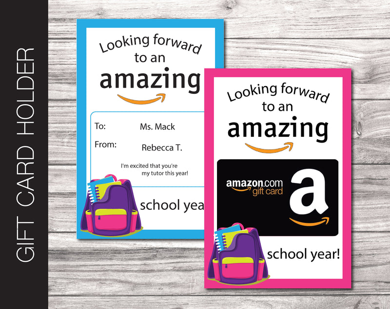 Printable Back To School Amazon Gift Card Holder - Kaci Bella Designs