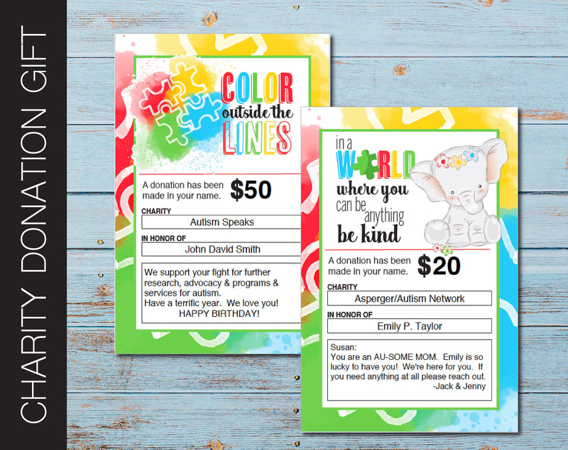 Printable Autism Charity Donation Gift Card - Kaci Bella Designs