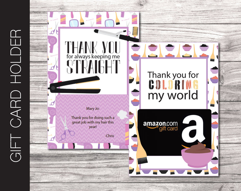 Printable Hair Stylist Appreciation Gift Card Holder - Kaci Bella Designs