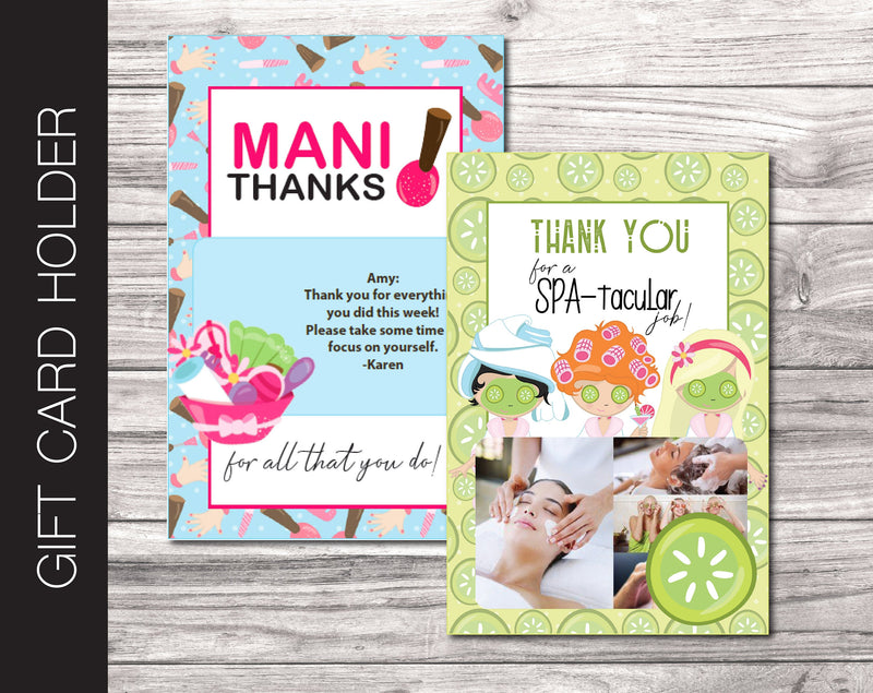 Printable Spa Appreciation Gift Card Holder - Kaci Bella Designs