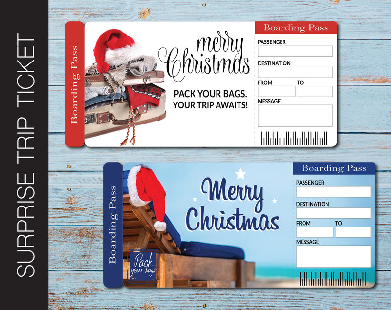 Printable Christmas Surprise Trip Gift Boarding Pass - Kaci Bella Designs