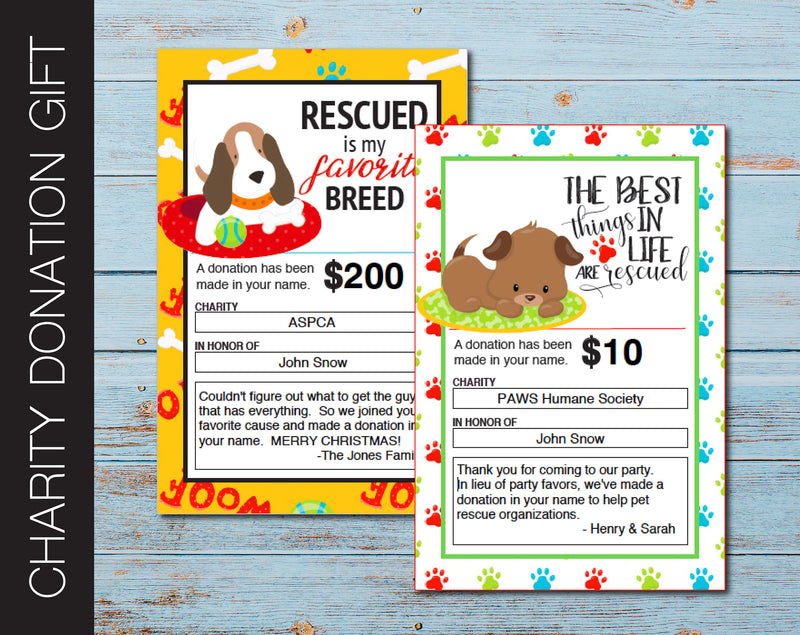 Printable Pet Rescue Charity Donation Gift Card - Kaci Bella Designs
