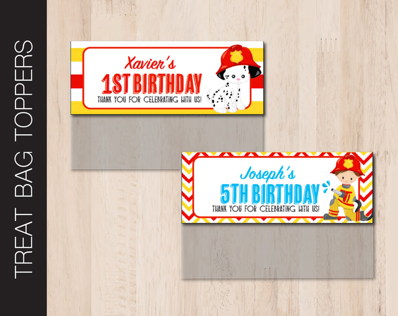 Printable Fireman Birthday Treat Bag Topper - Kaci Bella Designs