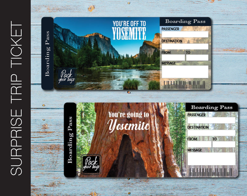 Printable Yosemite Surprise Trip Gift Ticket - Kaci Bella Designs
