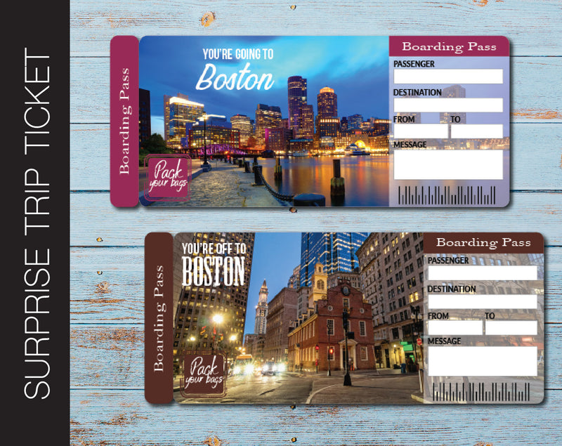 Printable Boston Surprise Trip Gift Ticket - Kaci Bella Designs