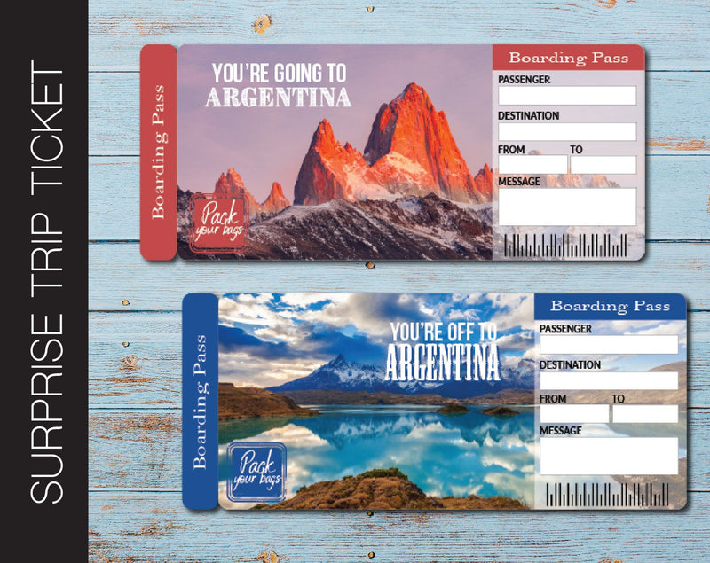 Printable Argentina Surprise Trip Gift Ticket - Kaci Bella Designs