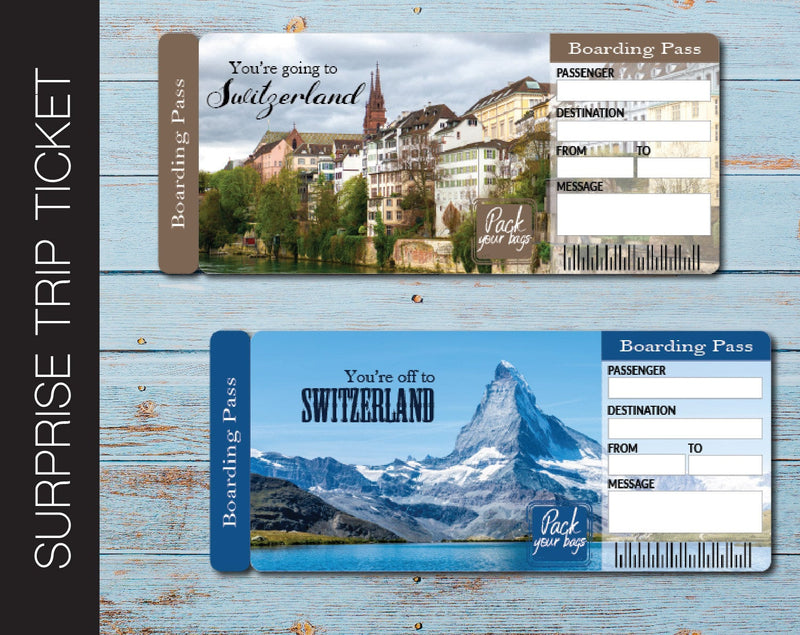 Printable Switzerland Surprise Trip Gift Boarding Pass - Kaci Bella Designs