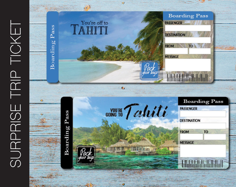 Printable Tahiti Surprise Trip Gift Boarding Pass - Kaci Bella Designs