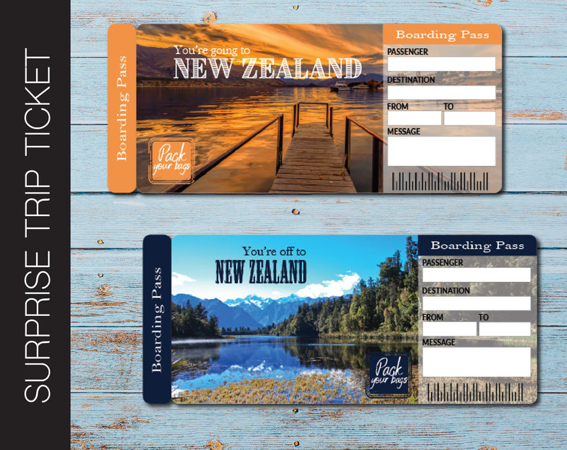 Printable New Zealand Surprise Trip Gift Ticket - Kaci Bella Designs