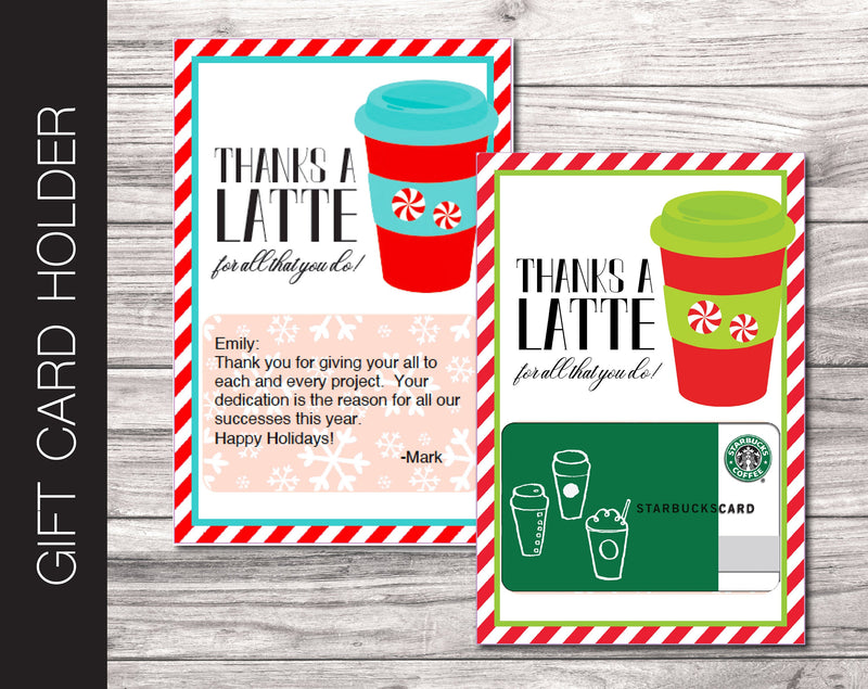 Printable Christmas Coffee Gift Card Holder - Kaci Bella Designs