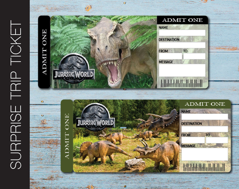 Printable Jurassic World Universal Studios Surprise Trip Gift Ticket - Kaci Bella Designs