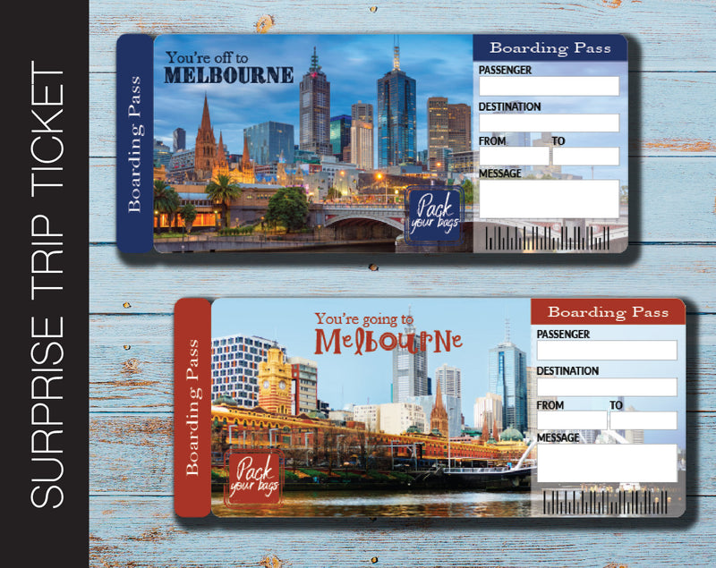 Printable Melbourne Surprise Trip Gift Ticket - Kaci Bella Designs