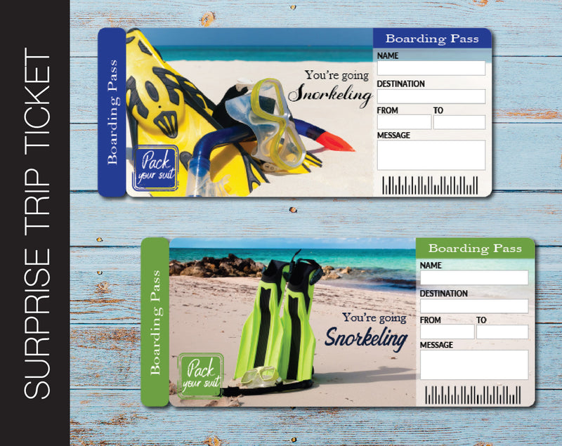 Printable Snorkeling Surprise Trip Gift Ticket - Kaci Bella Designs