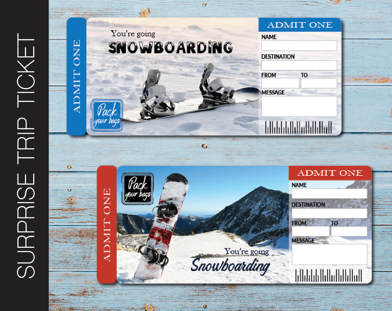 Printable Snowboarding Surprise Trip Gift Ticket - Kaci Bella Designs