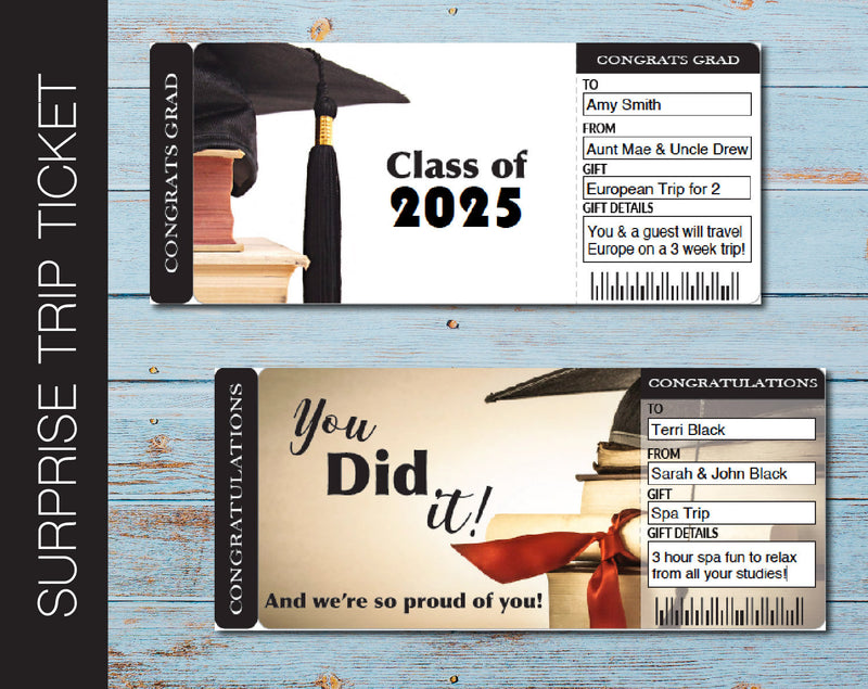 Printable Graduation Surprise Trip Gift Ticket - Kaci Bella Designs