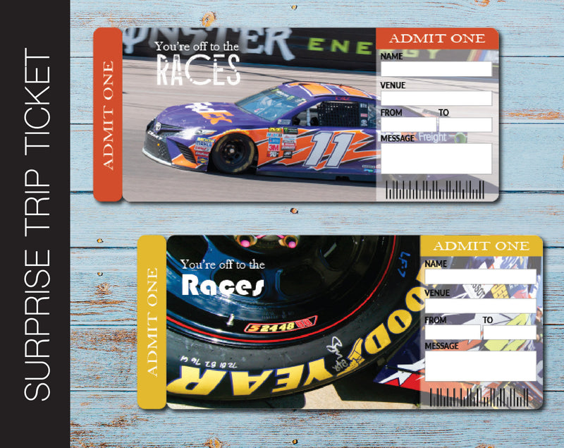 Printable Car Racing Surprise Trip Gift Boarding Pass - Kaci Bella Designs