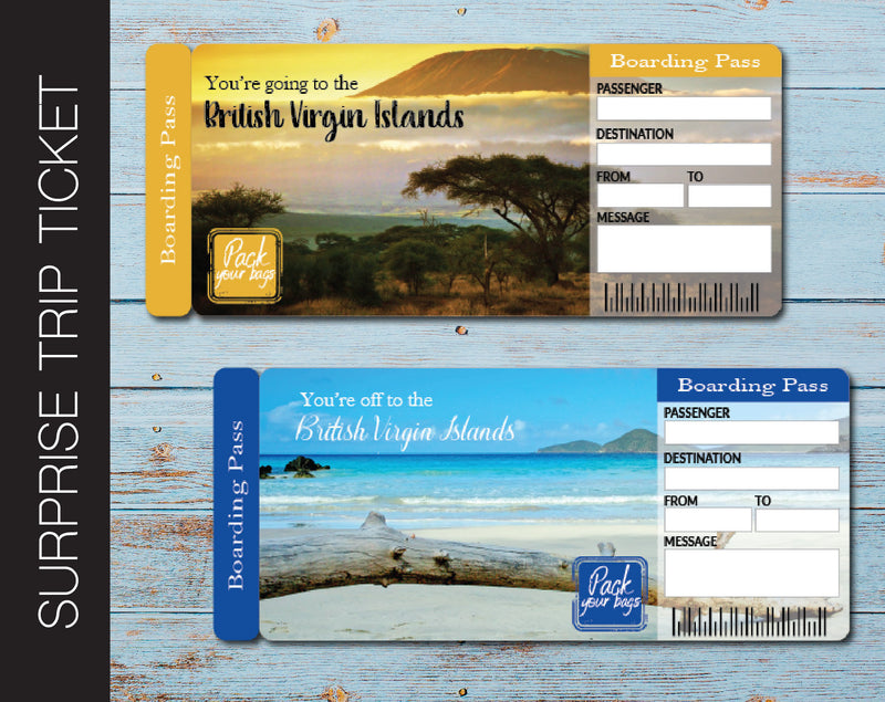 Printable British Virgin Islands Surprise Trip Gift Ticket - Kaci Bella Designs