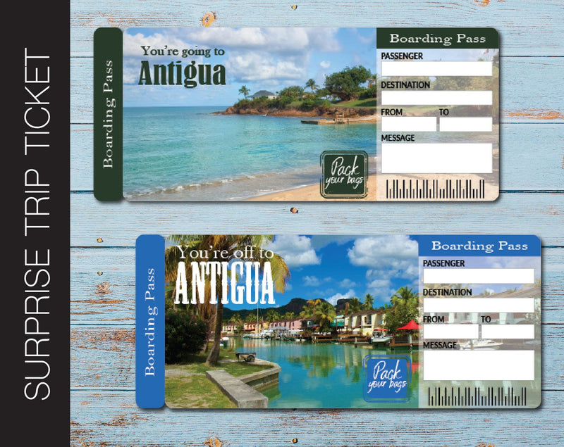 Printable Antigua Surprise Trip Gift Ticket - Kaci Bella Designs