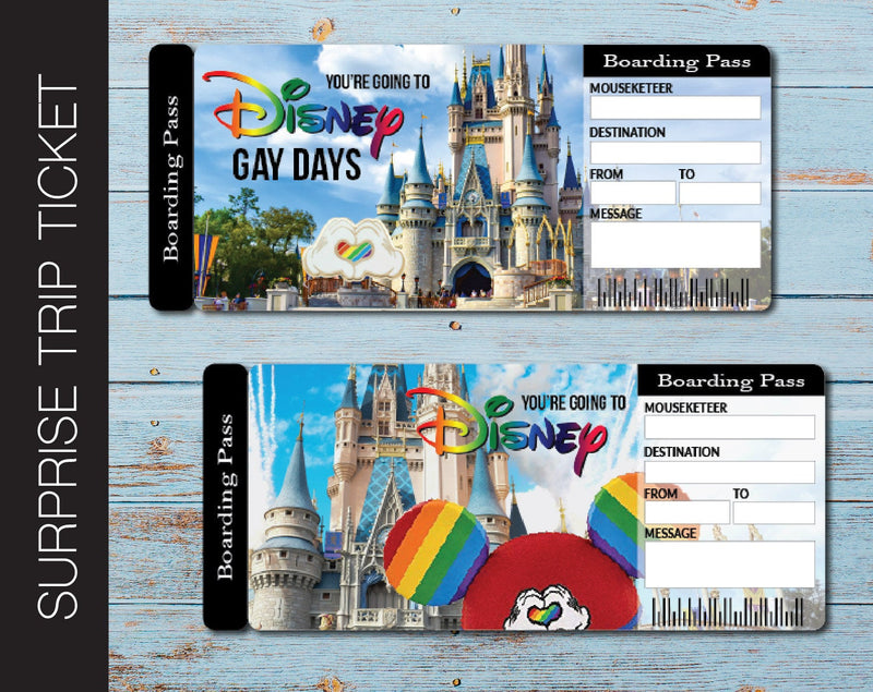 Printable Disney Gay Days Surprise Trip Gift Ticket - Kaci Bella Designs