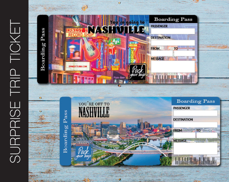 Printable Nashville Surprise Trip Gift Ticket - Kaci Bella Designs