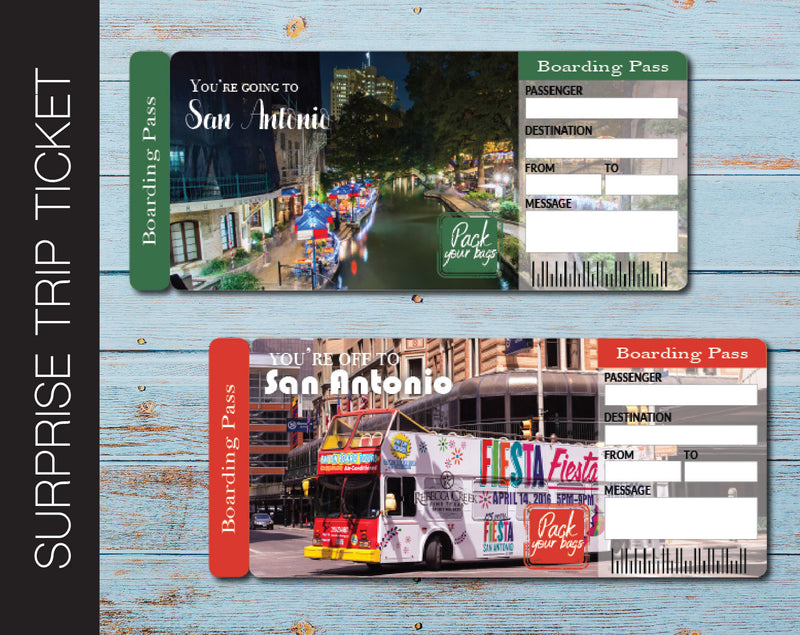 Printable San Antonio Surprise Trip Gift Ticket - Kaci Bella Designs