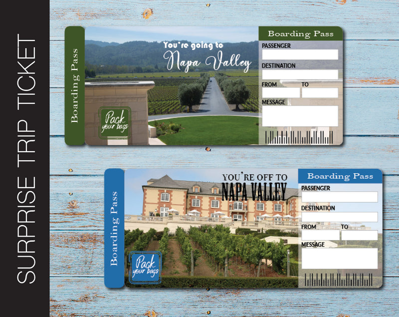 Printable Napa Valley Surprise Trip Gift Ticket - Kaci Bella Designs