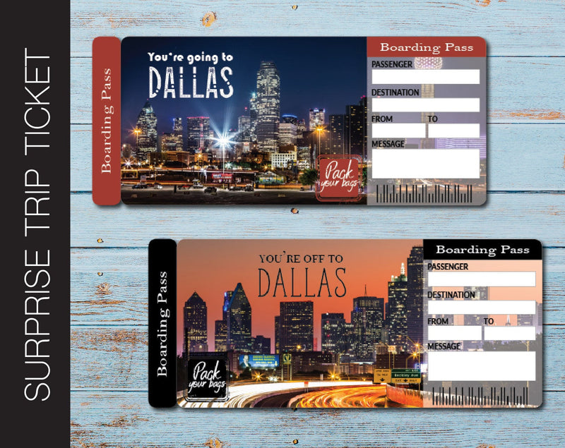 Printable Dallas Surprise Trip Gift Ticket - Kaci Bella Designs