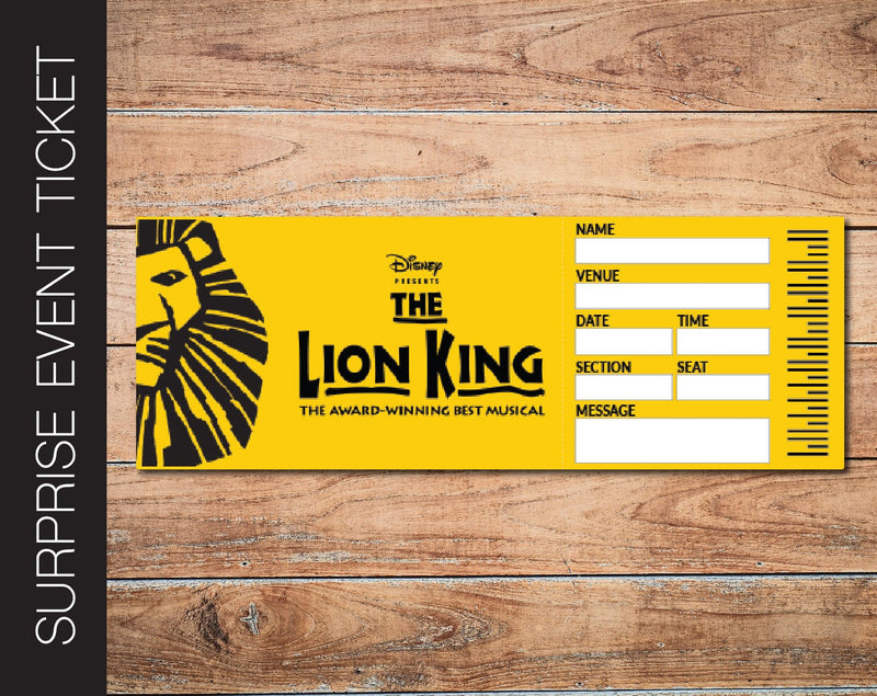 Printable Lion King Broadway Show Gift Reveal - Kaci Bella Designs