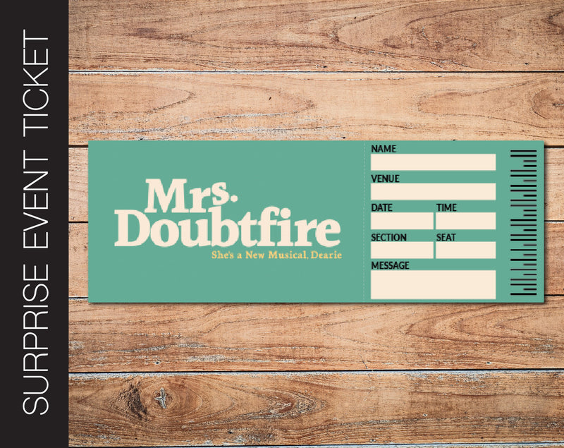 Printable Mrs. Doubtfire Broadway Show Gift Reveal - Kaci Bella Designs