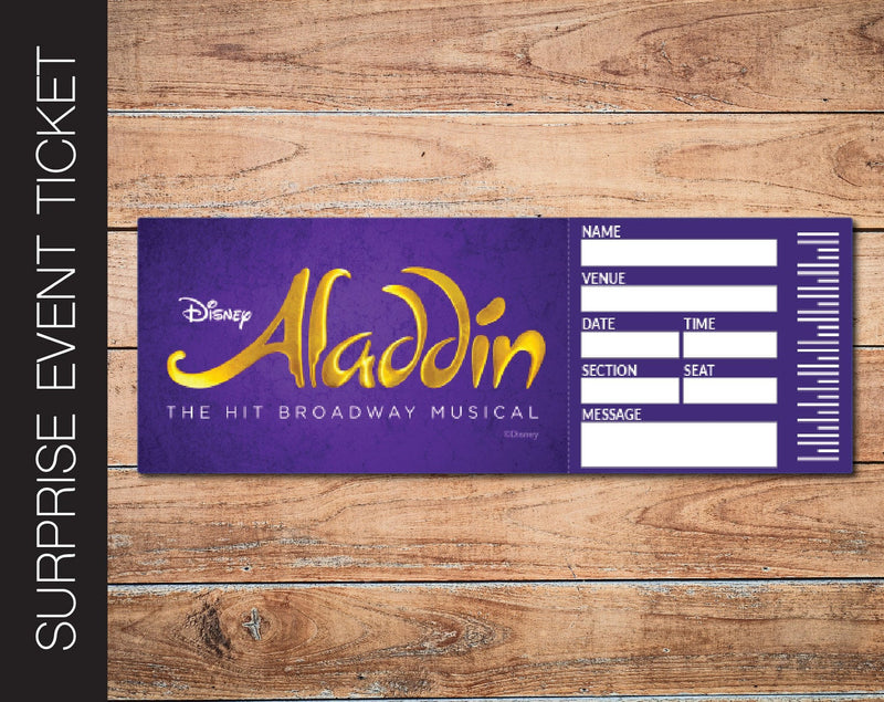 Printable Aladdin Broadway Broadway Show Gift Reveal - Kaci Bella Designs