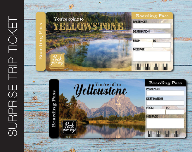 Printable Yellowstone Surprise Trip Gift Ticket - Kaci Bella Designs