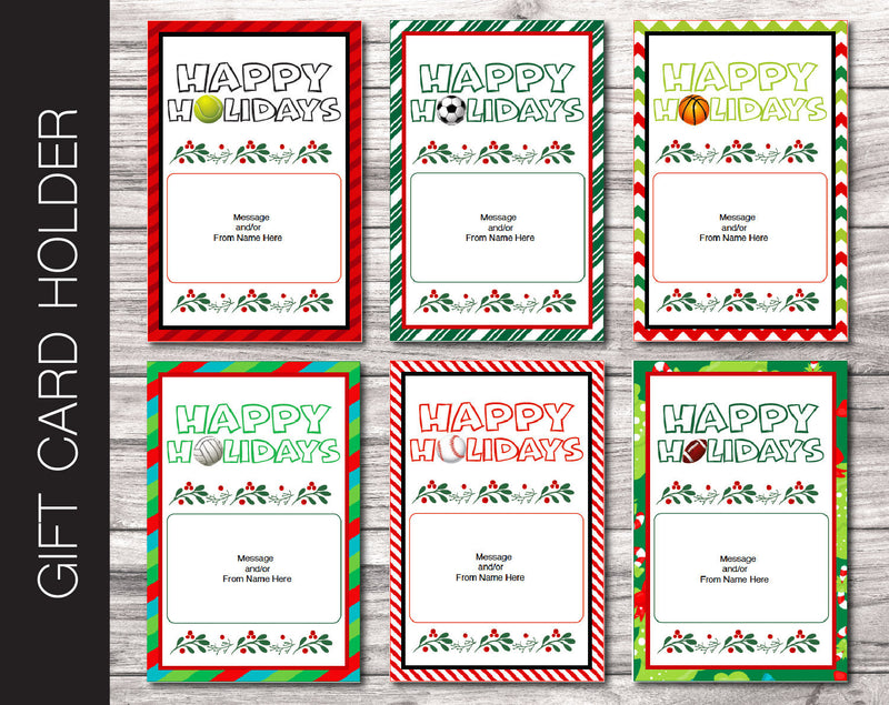 Printable Christmas Sports Themed Gift Card Holder - Kaci Bella Designs