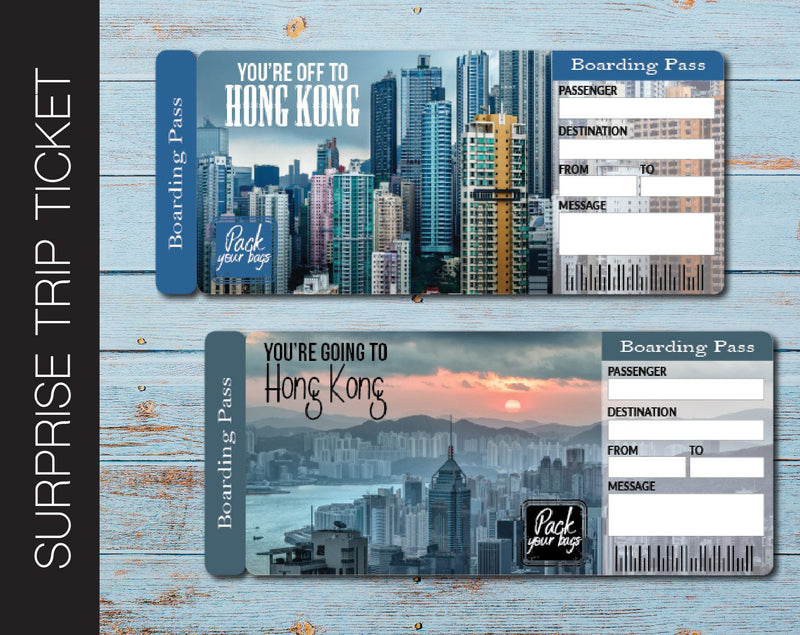 Printable Hong Kong Surprise Trip Gift Ticket - Kaci Bella Designs