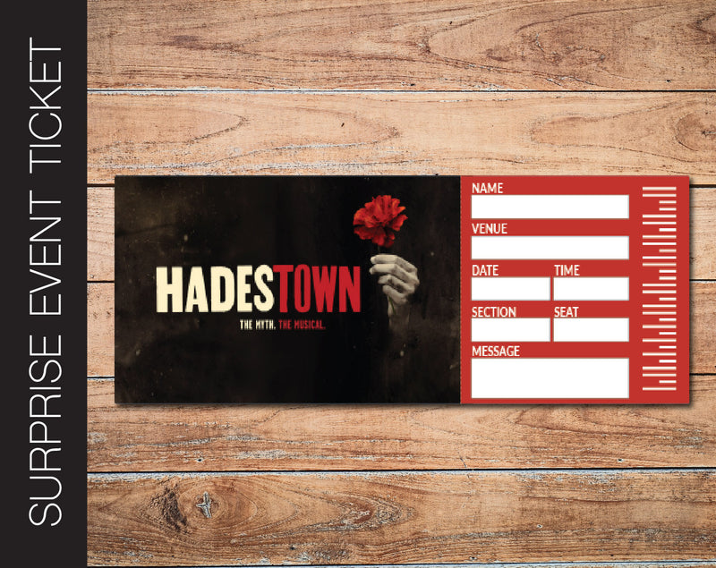Printable Hadestown Broadway Show Gift Reveal - Kaci Bella Designs