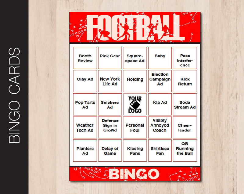 Printable Football Themed Editable Bingo Cards - Kaci Bella Designs