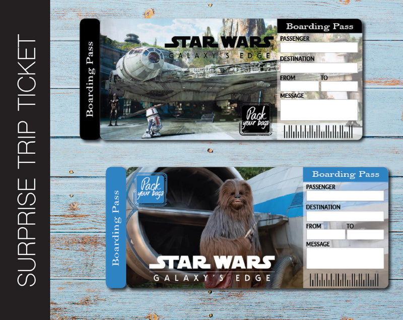Printable Star Wars Galaxy Edge Surprise Trip Ticket - Kaci Bella Designs