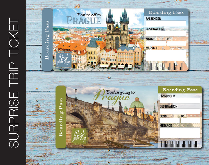 Printable Prague Surprise Trip Gift Ticket - Kaci Bella Designs