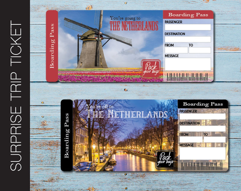 Printable Netherlands Surprise Trip Gift Ticket - Kaci Bella Designs