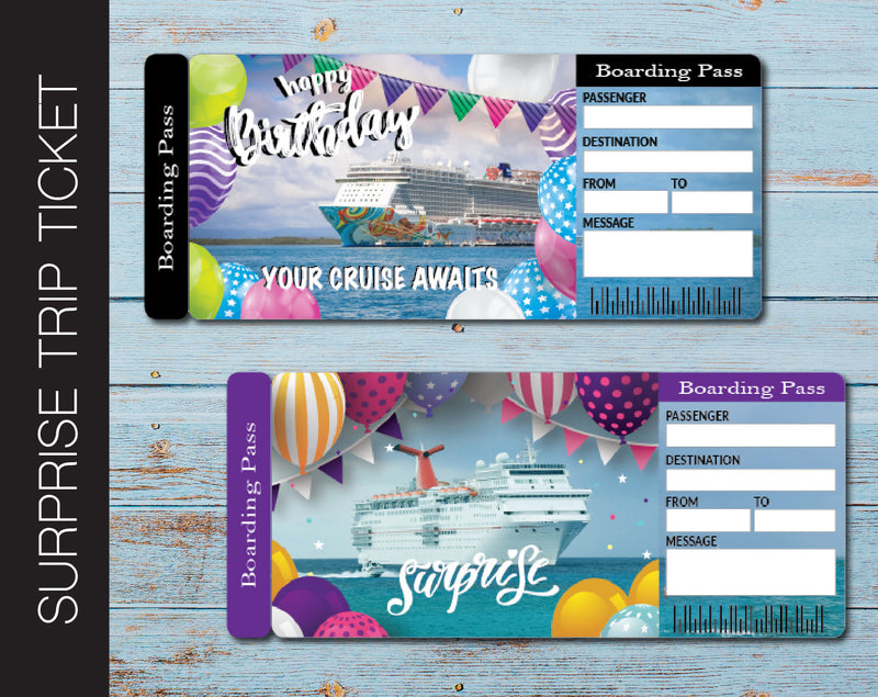 Printable Birthday Cruise Surprise Trip Gift Ticket - Kaci Bella Designs