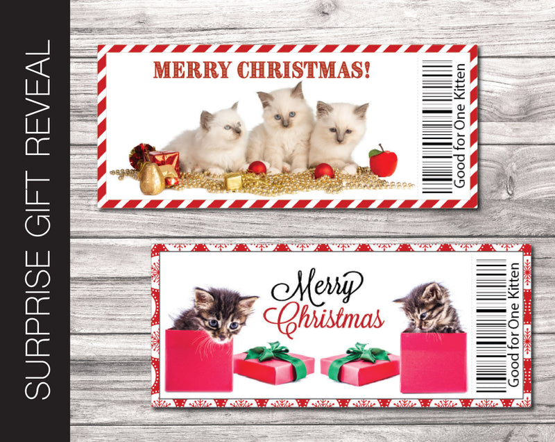 Printable Christmas Kitten / Cat Gift Reveal - Kaci Bella Designs