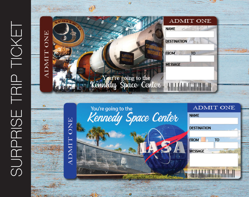Printable Kennedy Space Center Surprise Trip Gift Ticket - Kaci Bella Designs