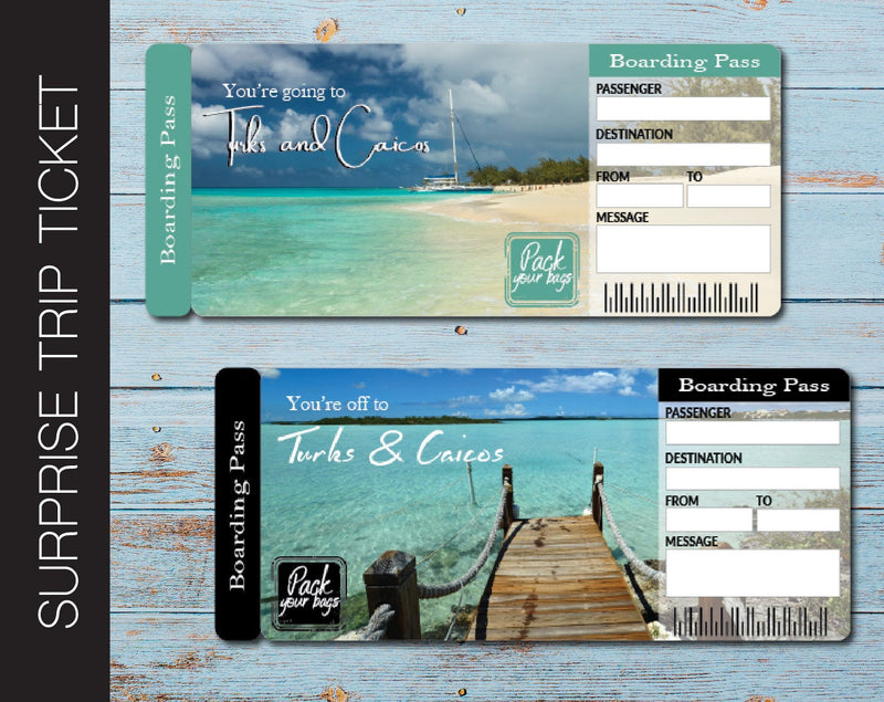 Printable Turks and Caicos Surprise Trip Gift Ticket - Kaci Bella Designs
