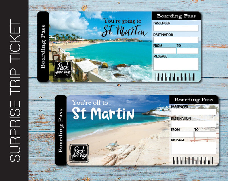 Printable St. Martin Surprise Trip Gift Ticket - Kaci Bella Designs