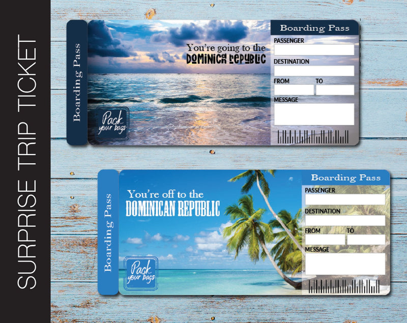 Printable Dominican Republic Surprise Trip Gift Boarding Pass - Kaci Bella Designs